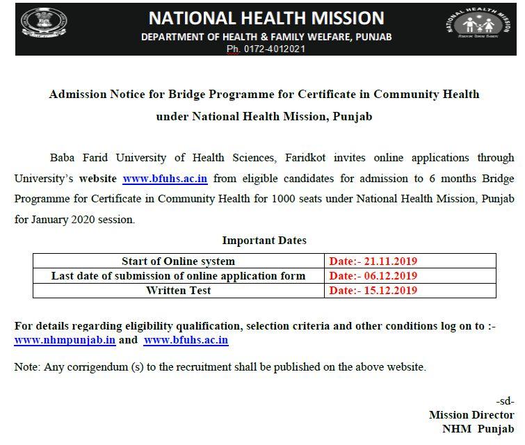 NHM Punjab CHO Recruitment 2020