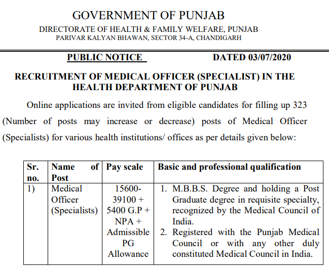 DHS Punjab Health Recruitment 2020