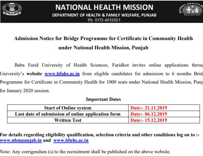 NHM Punjab Bridge Course