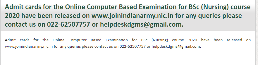 Indian Army BSc Nursing Admit Card 2020