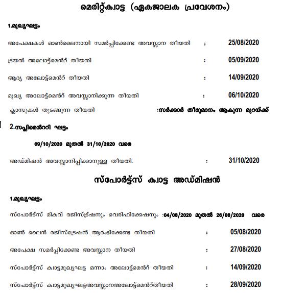 HSCAP Kerala Plus One Trial Allotment Result 2020