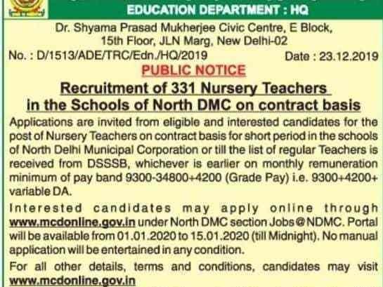 NDMC Nursery Teacher Result 2020