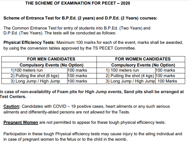 TS PECET Physical Test Hall Ticket 2020