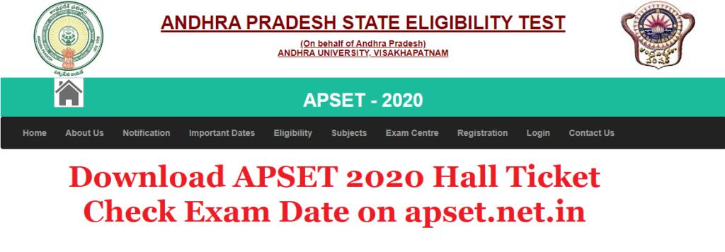 APSET Hall Ticket Download apset.net.in