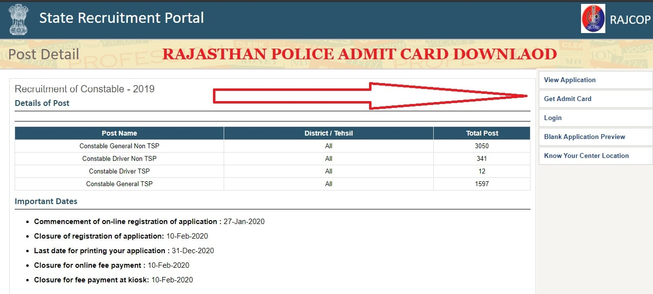 police.rajasthan.gov.in constable admit card download
