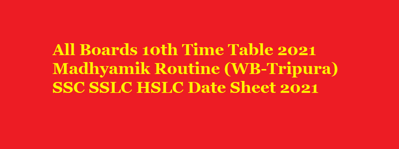 10th Time Table 2021