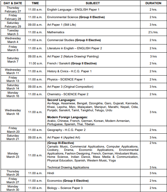 ICSE Board 10th Time Table 2021