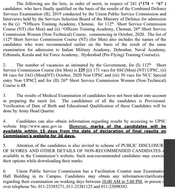 UPSC CDS 2 Result 2020