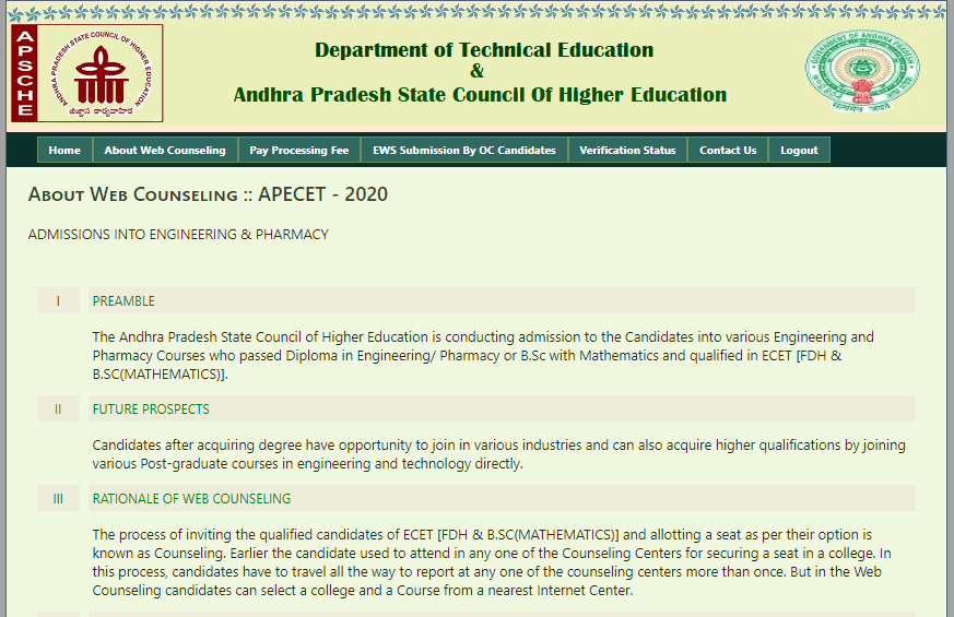 AP ECET Counselling 2020
