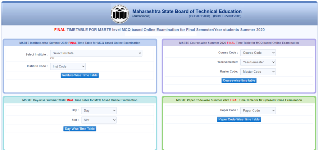 MSBTE Time Table Winter 2021