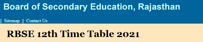 RBSE 12th Time Table 2021