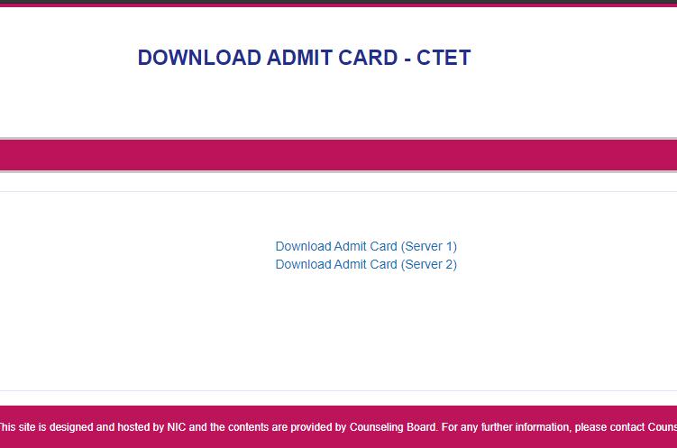 ctet.nic.in Admit Card 2021