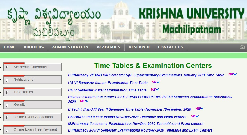 Krishna University Time Table 2021