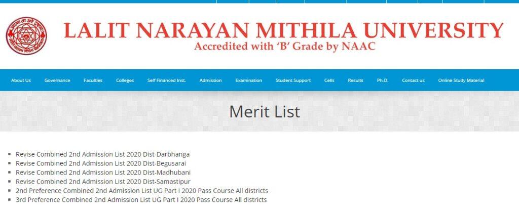 LNMU Merit List 2021