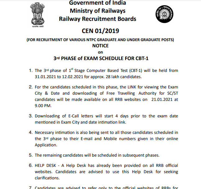 RRB NTPC Phase 3 Schedule 2021