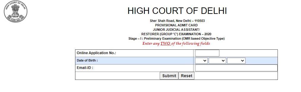 Delhi High Court Junior Judicial Assistant Admit Card 2021