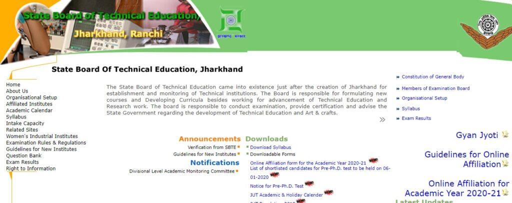 SBTE Jharkhand Diploma Result 2021