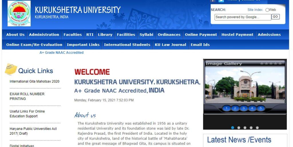 Kurukshetra University Result 2021