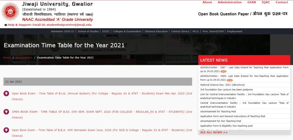 Jiwaji University Time Table 2021
