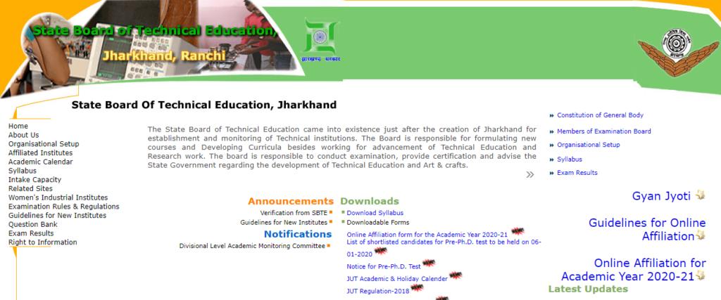 SBTE Jharkhand Diploma Time Table 2021