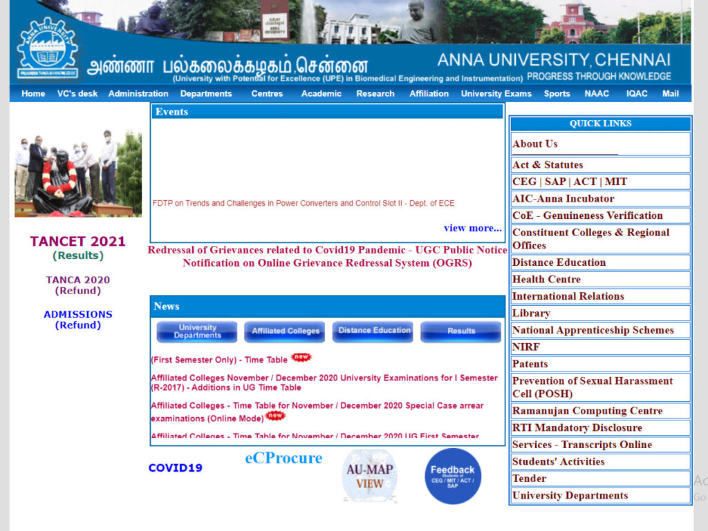 Anna University Time Table 2021 2nd 4th 6th semester April/ May Exams