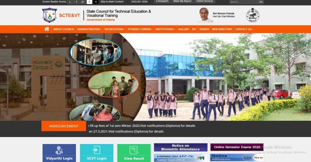 SCTEVT Odisha Time Table 2021 sctevtodisha.nic.in