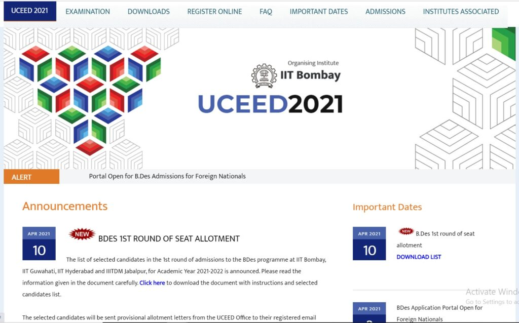 UCEED Round 1 2 3 Seat Allotment Result 2021 BDes Counseling Dates