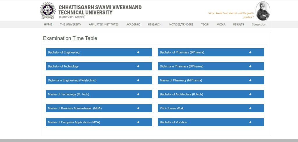 CSVTU Diploma Time Table 2021 csvtu.ac.in Polytechnic 2nd 4th 6th Sem Exam Date Sheet