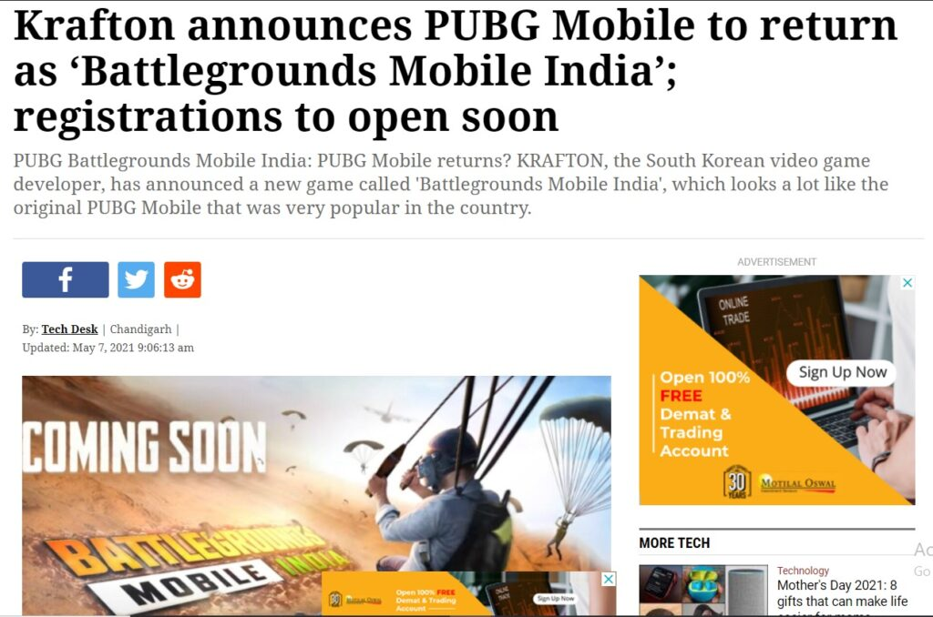 Battle Ground Mobile India Release Date 2021