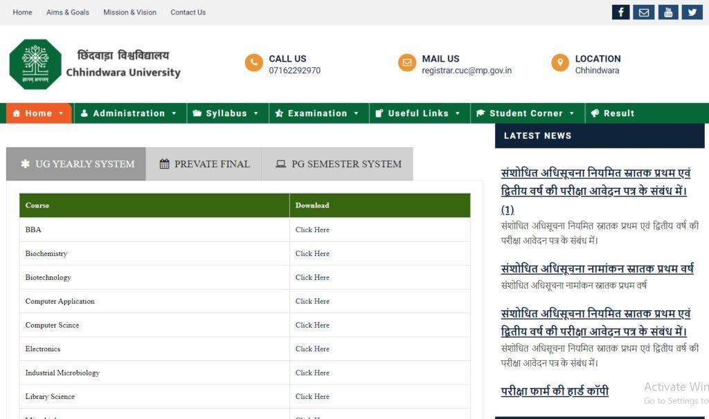 Chhindwara University Result 2021 BA BSc BCom MA MSc MCom