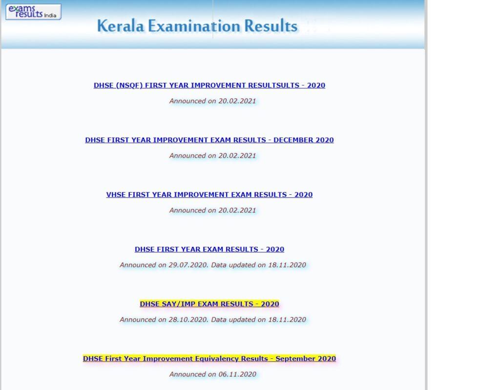 Kerala Plus One Result 2021 DHSE VHSE +1 Result