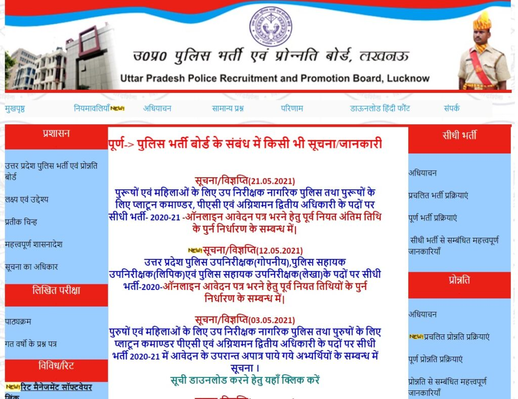 UP Police SI Cut Off Marks 2021 Merit List for Sub Inspector