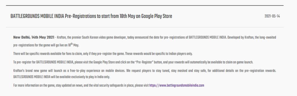 battlegroundsmobileindia.com Pre Registration 18 May 2021 BGMI Release Date (BATTLEGROUNDS MOBILE INDIA)