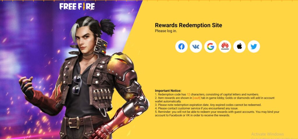 Free Fire Redeem Code 11 June 2021 Garena FF Code in India, Singapore, Europe