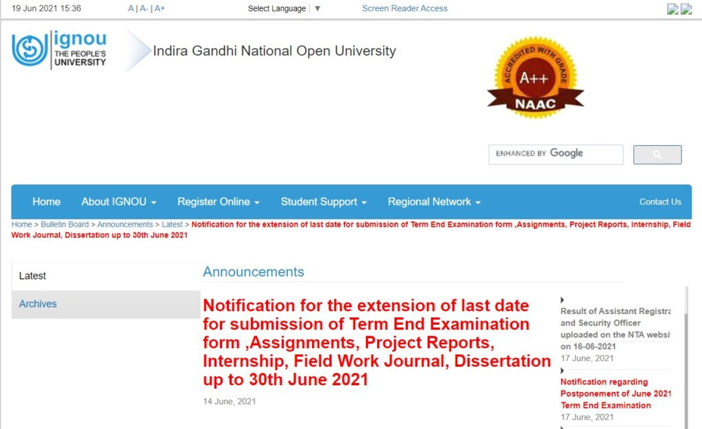 IGNOU Assignment Submission Online 2021