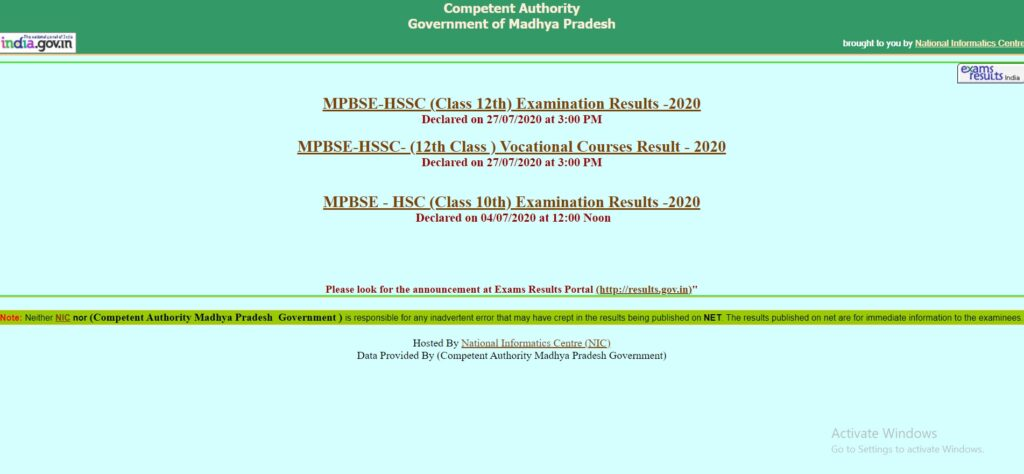 MP Board 12th Result 2021 Class 12 Result Date