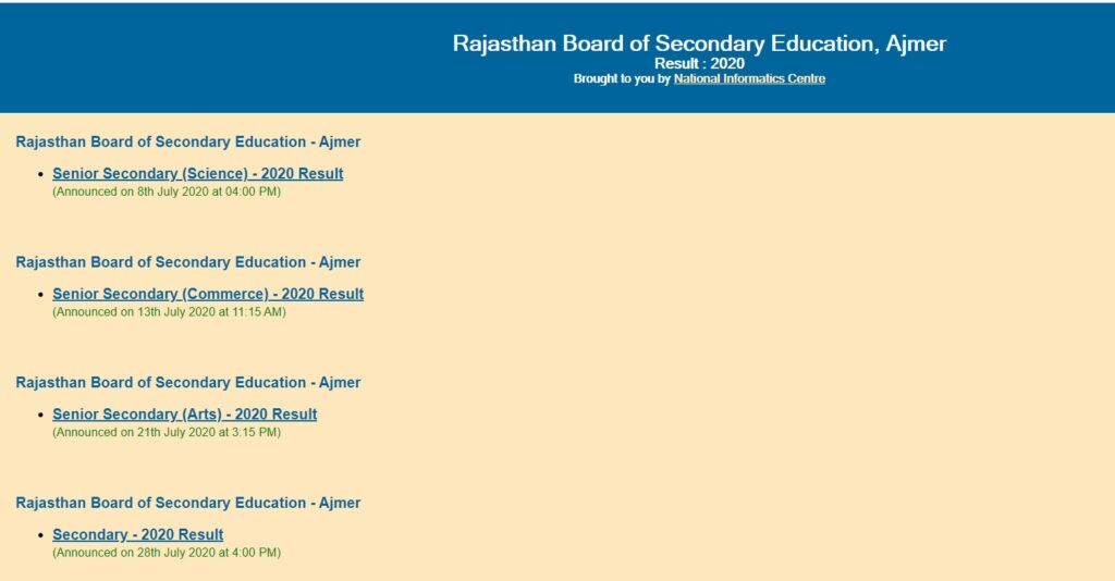 RBSE 10th Result 2021 Rajasthan Board Matric Results Name, Roll No School Wise @ Rajresults.nic.in