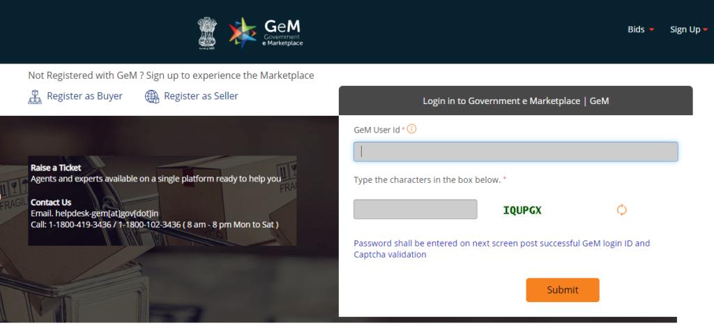 GeM Login- Government e-Marketplace Portal Registration @ gem.gov.in