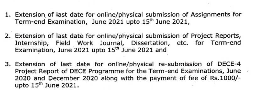 IGNOU Assignment Submission Online 2021 for TEE Last Date 30 June