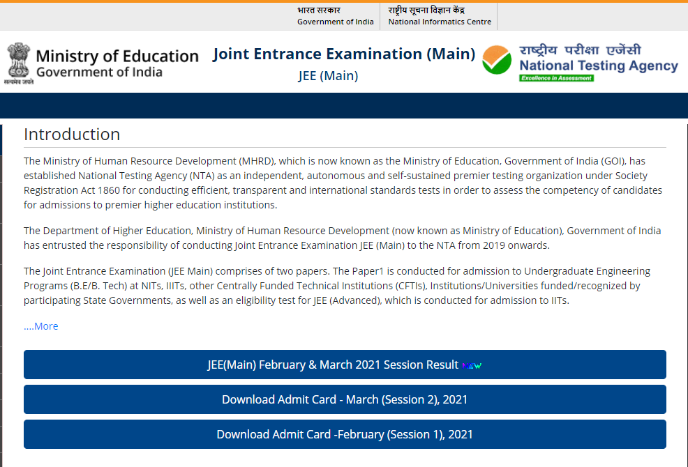 JEE Main Admit Card 2021 Download at jeemain.nta.nic.in Exam Date