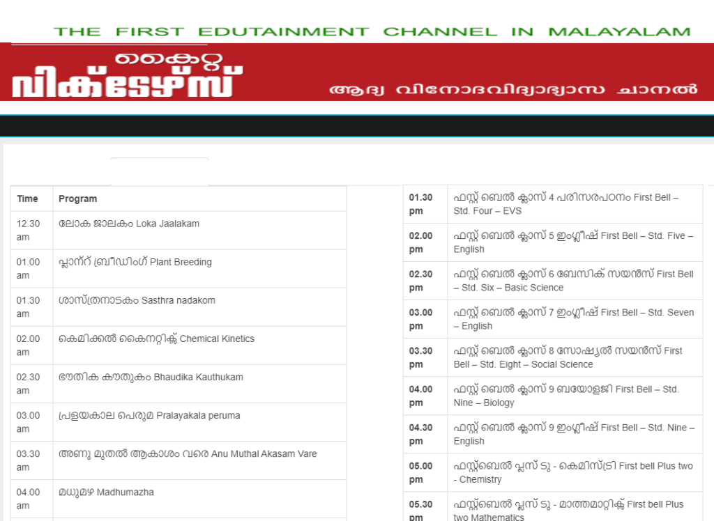 Kite Victers Time Table June 2021 victers.kite.kerala.gov.in channel today timetable