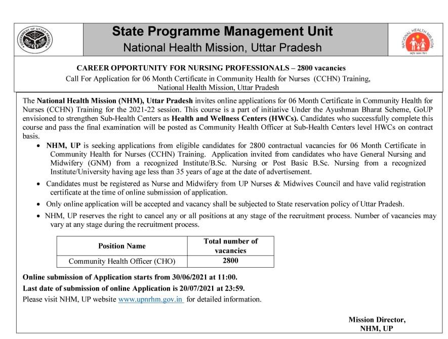 UP NRHM CHO Application Form 2021