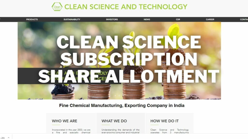 Clean Science Share Allotment Subscription Status