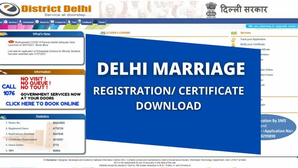 Delhi Marriage Registration Certificate