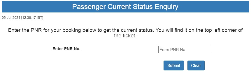 PNR status for checking complete details of the passenger now online.