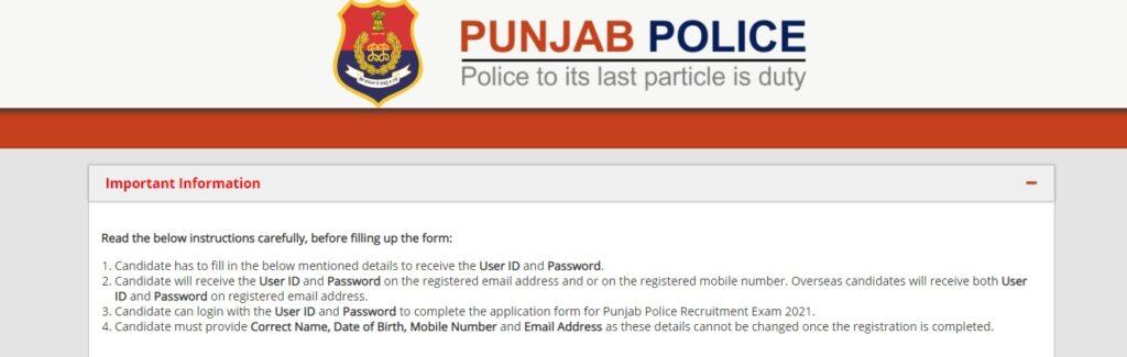 Punjab Police SI Recruitment 2021 Apply Online, Notification PDF