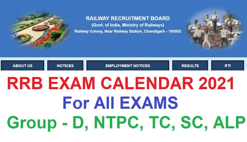 RRB Exam Calendar 2021 NTPC, Group D, TC, ALP Exam Dates, Schedule