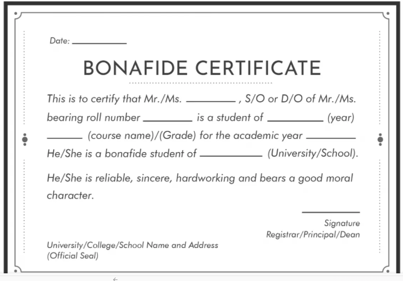 Bonafide Certificate Application Form PDF School College Scholarship