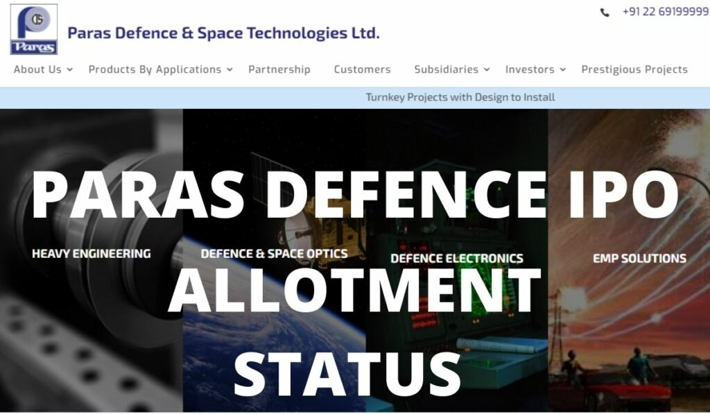 PARAS DEFENCE IPO ALLOTMENT STATUS