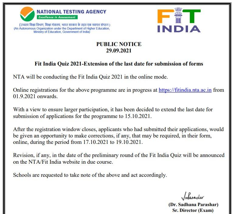 Fit India Quiz Notice